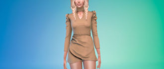 Дизайнерское короткое платье для женщин для Симс 4 – фото 1