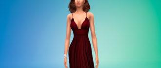 Элегантное платье с открытой спиной для Симс 4 – фото 1