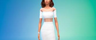 Элегантное платье с прозрачными вставками для Симс 4 – фото 1