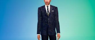 Элегантный мужской костюм для Симс 4 – фото 1