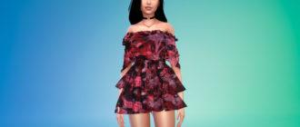 Короткое платье с баской для Симс 4 – фото 1