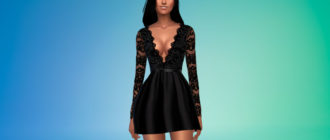 Короткое платье с v-образным вырезом для Симс 4 – фото 1