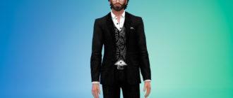 Костюм с жилетом и шелковой рубашкой для Симс 4 – фото 1
