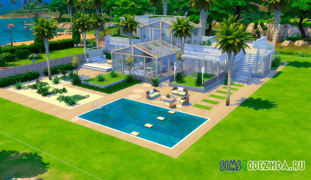 Красивый стеклянный дом для Симс 4 - фото