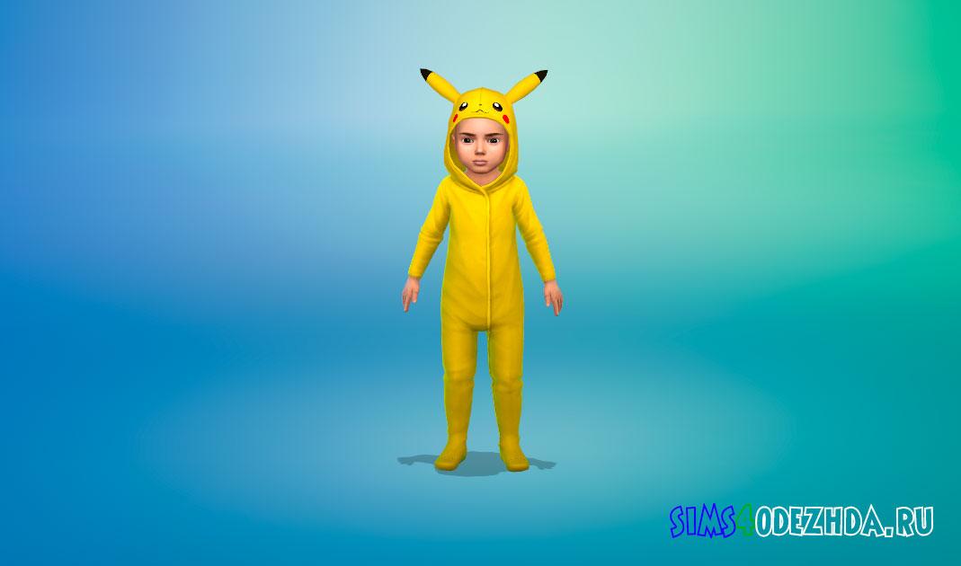 Пижама-комбинезон с Пикачу и Тоторо для малышей для Симс 4 – фото 1