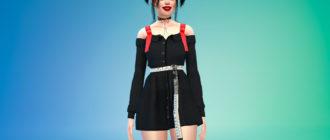 Платье-рубашка с открытыми плечами для Симс 4 – фото 1