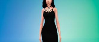 Платье с лентой на шее для Симс 4 – фото 1