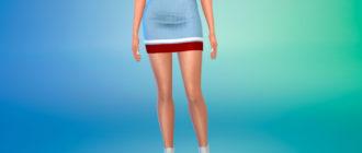 Полосатая короткая юбка для Симс 4 – фото 1