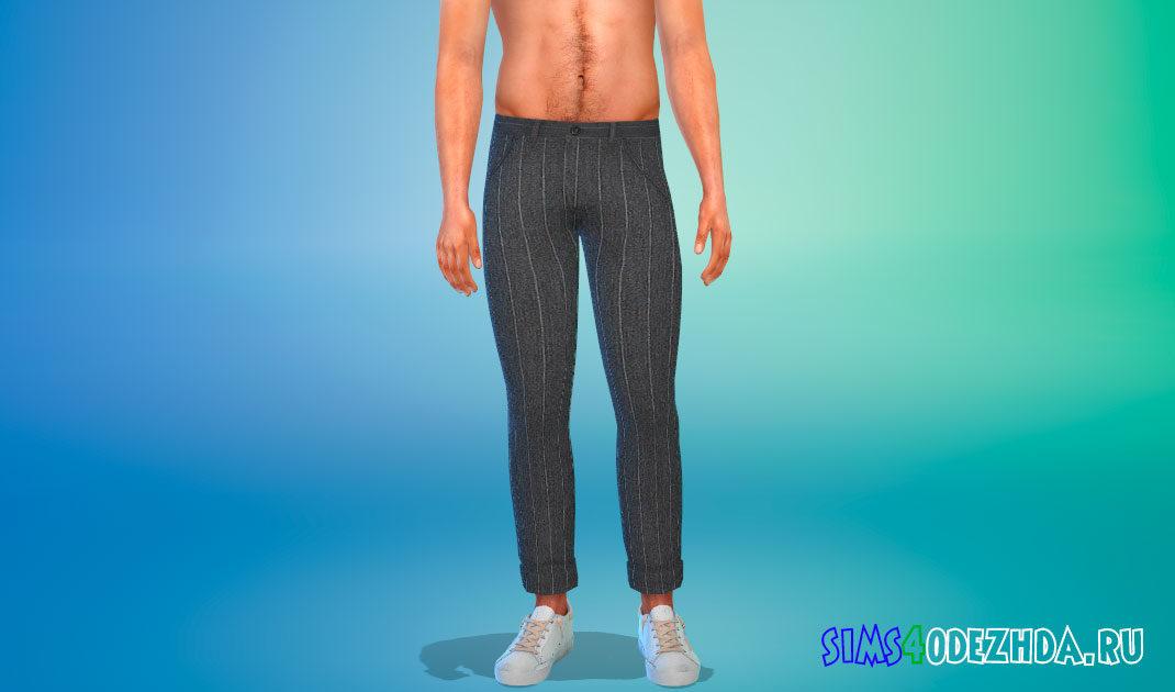 Полосатые мужские брюки для Симс 4 – фото 1