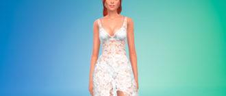 Прозрачное кружевное платье для Симс 4 – фото 1