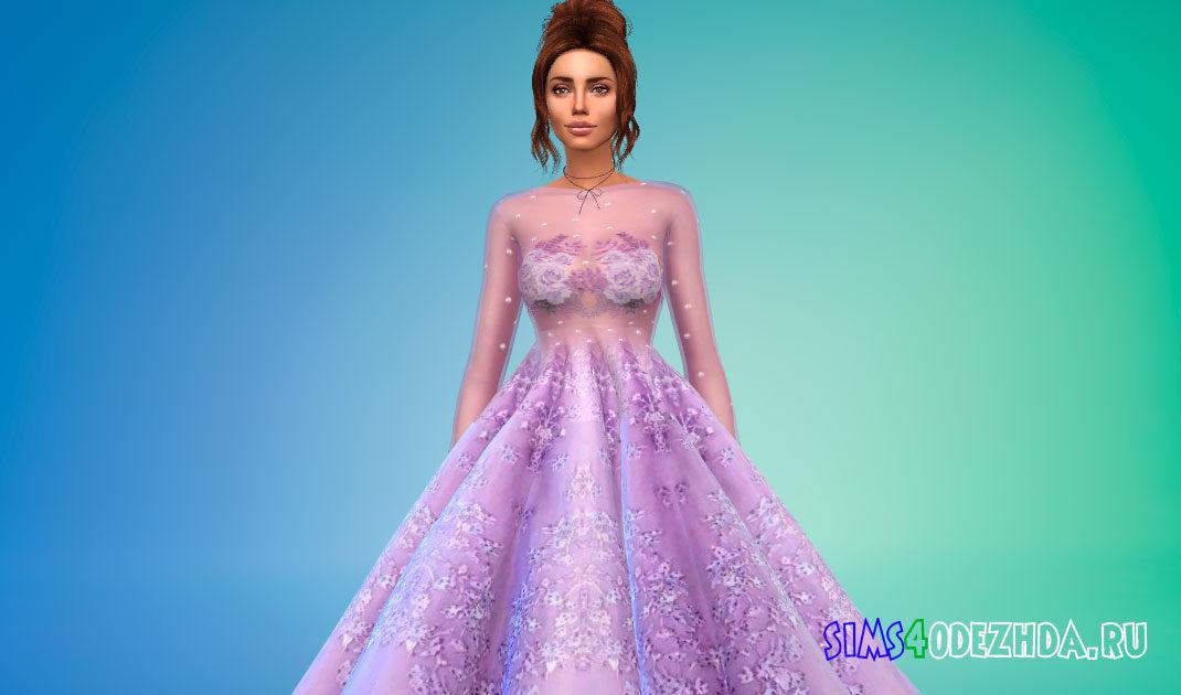 Пышное платье для выпускного бала для Симс 4 – фото 1