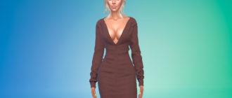 Сетчатое короткое платье с длинными рукавами для Симс 4 – фото 1