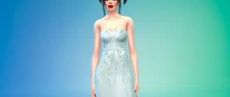 Шелковое платье без бретелек для Симс 4 – фото 1