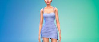 Симпатичное мини-платье со сборками для Симс 4 – фото 1