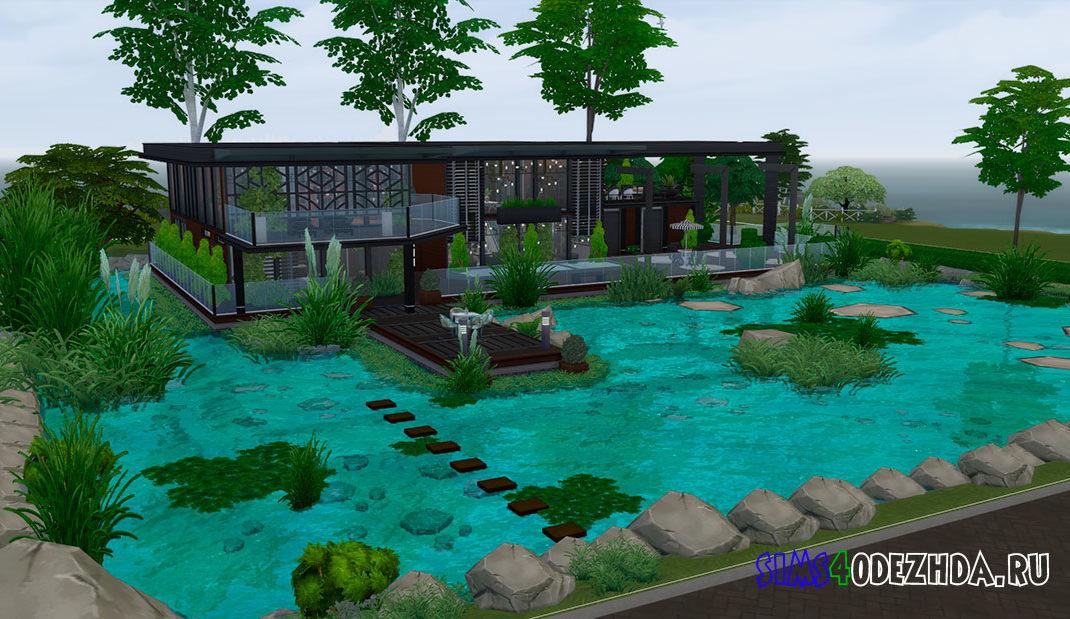 Современный дом у пруда для Симс 4 - фото