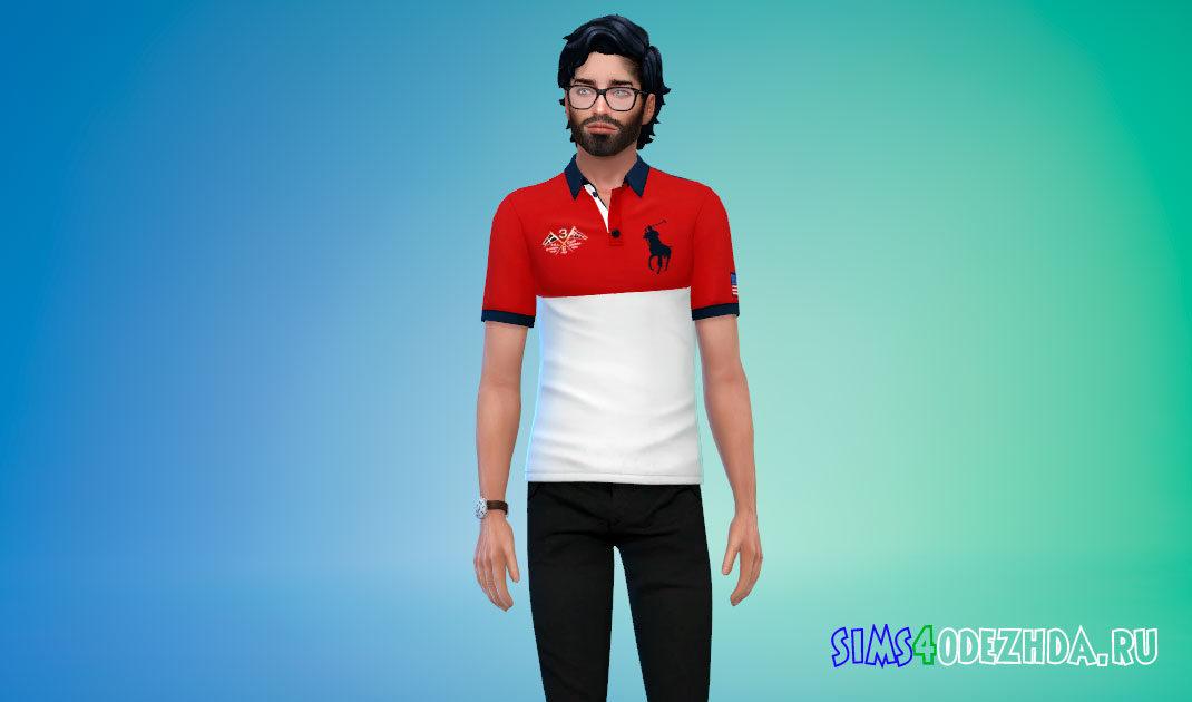 Спортивная футболка-поло для Симс 4 – фото 1