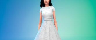 Свадебное платье в ретро стиле для Симс 4 – фото 1