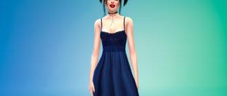 Украшенное кружевом платье для Симс 4 – фото 1