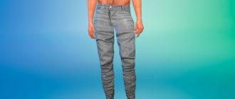 Асимметричные мужские штаны для Симс 4 – фото 1