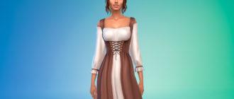 Длинное крестьянское платье для Симс 4 – фото 1