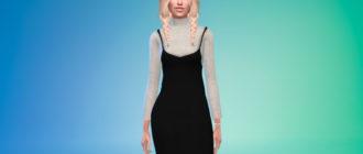 Длинное теплое платье для Симс 4 – фото 1