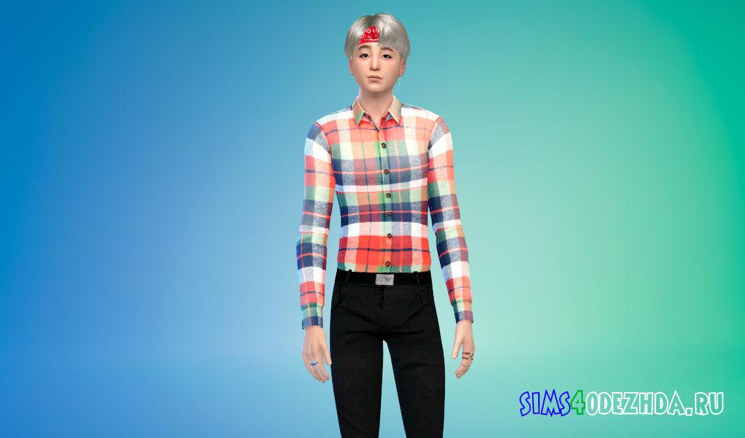 Комплект мужских рубашек для Симс 4 – фото 1