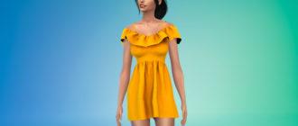 Короткое летнее платье с рисунками для Симс 4 – фото 1