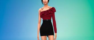 Короткое платье с оборками для Симс 4 – фото 1