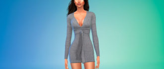 Короткое платье-свитер для Симс 4 – фото 1