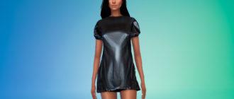 Кожаное платье для Симс 4 – фото 1