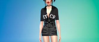 Мини-платье с заостренным воротником для Симс 4 – фото 1