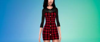 Мини-платье в клетку для Симс 4 – фото 1