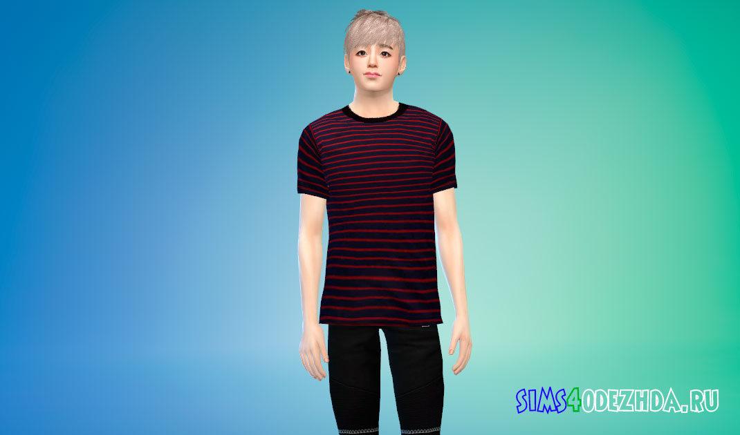 Мужская футболка в полоску для Симс 4 – фото 1