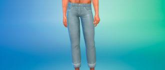 Мужские джинсы с подворотами для Симс 4 – фото 1