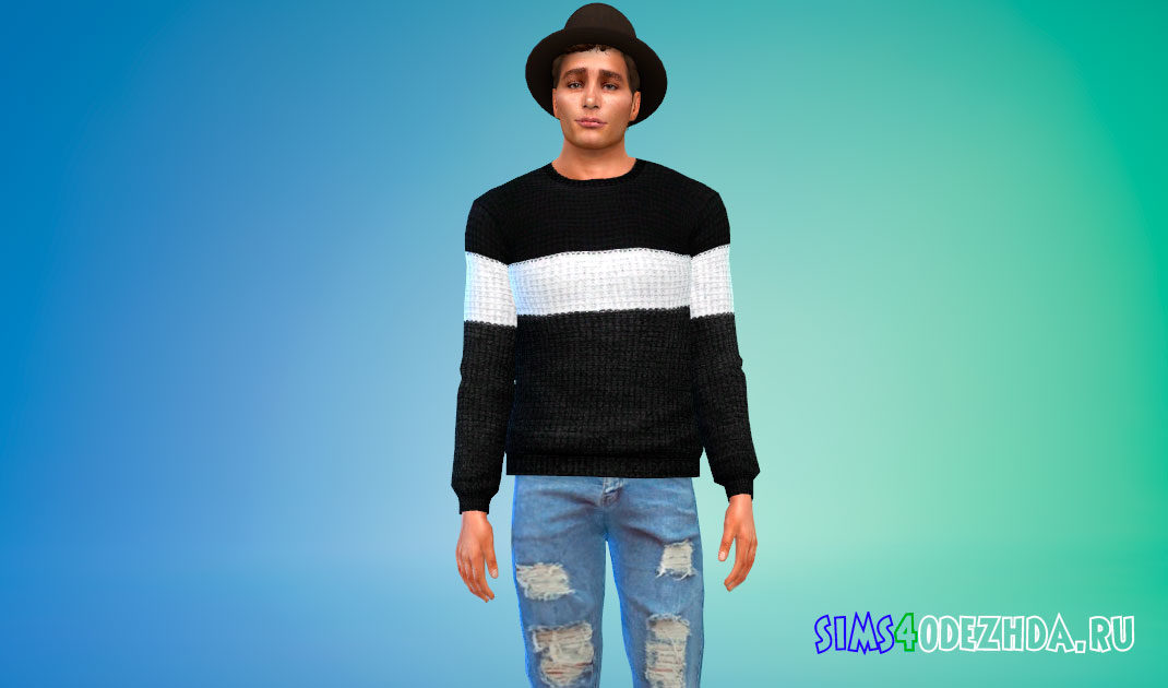 Мужской свитер в полосу для Симс 4 – фото 1
