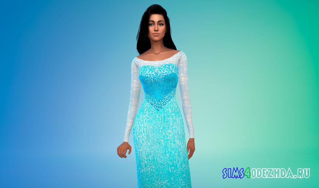 Платье Эльзы для Симс 4 – фото 1