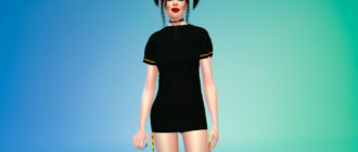 Платье с лентой сбоку для Симс 4 – фото 1
