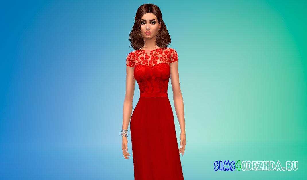 Прекрасное платье с кружевным прозрачным верхом для Симс 4 – фото 1