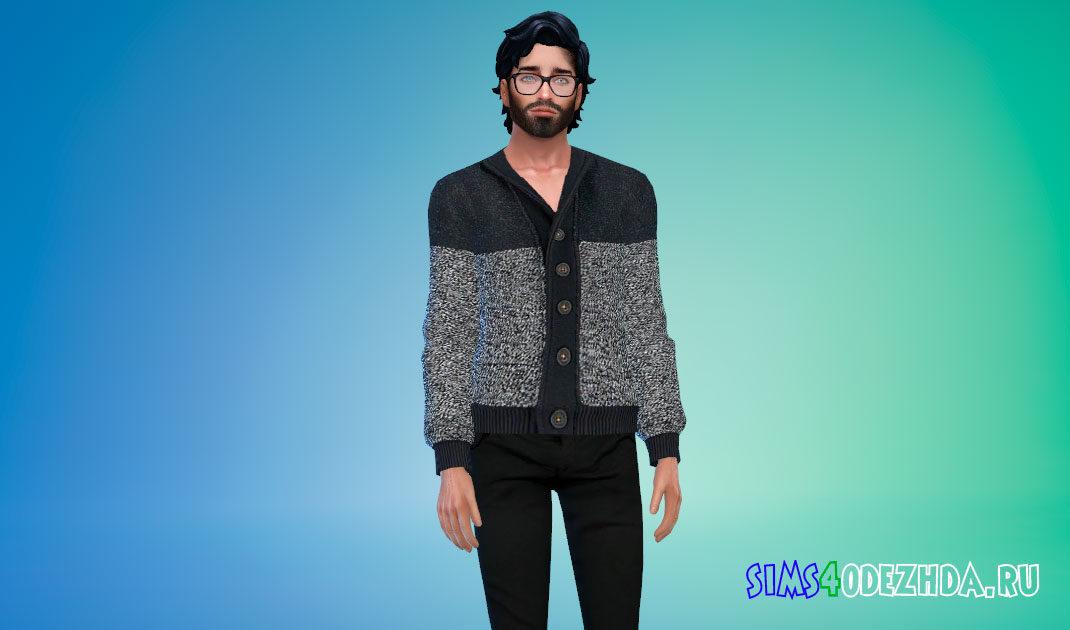 Шерстяной свитер на пуговицах для Симс 4 – фото 1