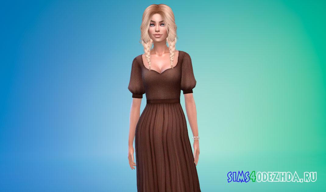 Средневековое платье с короткими рукавами для Симс 4 – фото 1