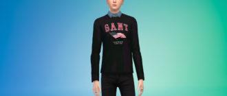 Стильный свитер с рубашкой для мужчин для Симс 4 – фото 1