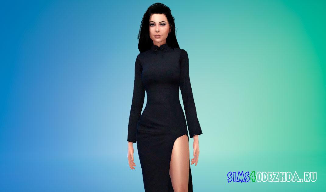 Строгое платье с вырезом на ноге для Симс 4 – фото 1