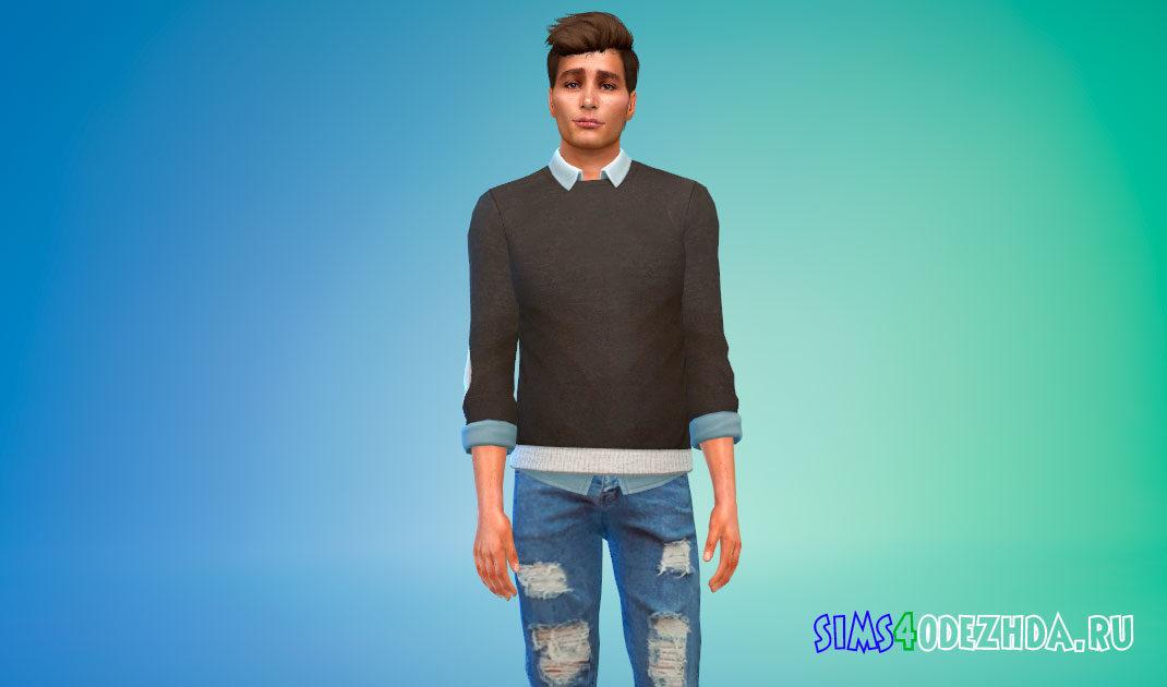 Свитер с рубашкой для Симс 4 – фото 1
