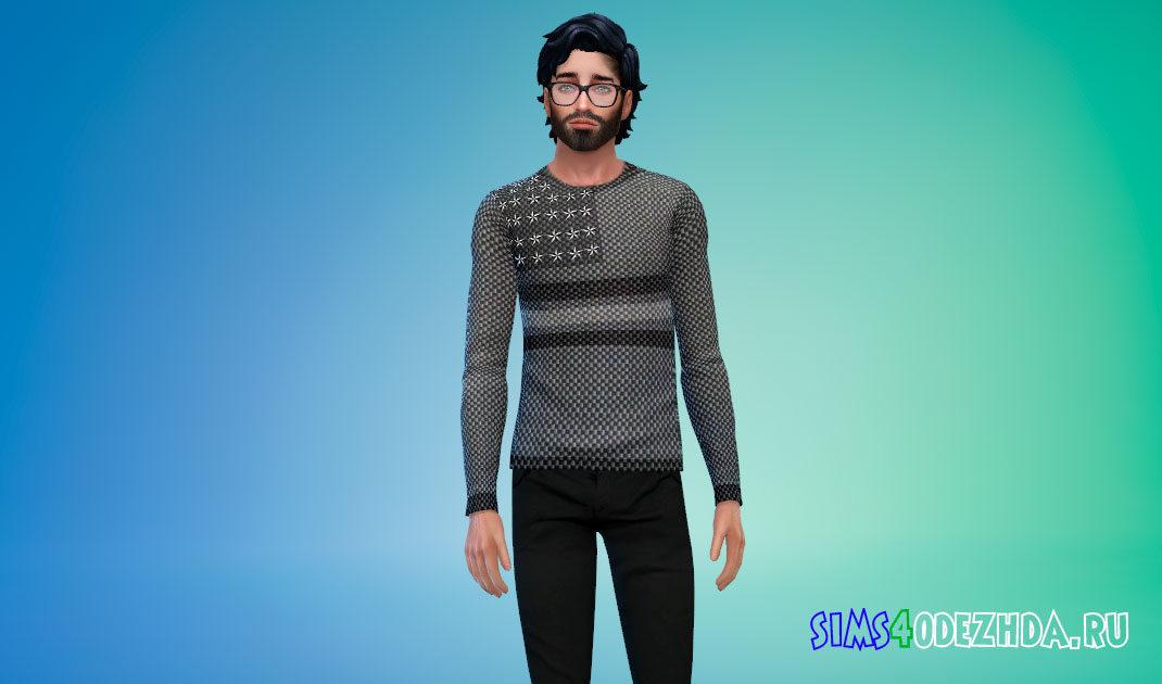 Темный мужской свитшот для Симс 4 – фото 1