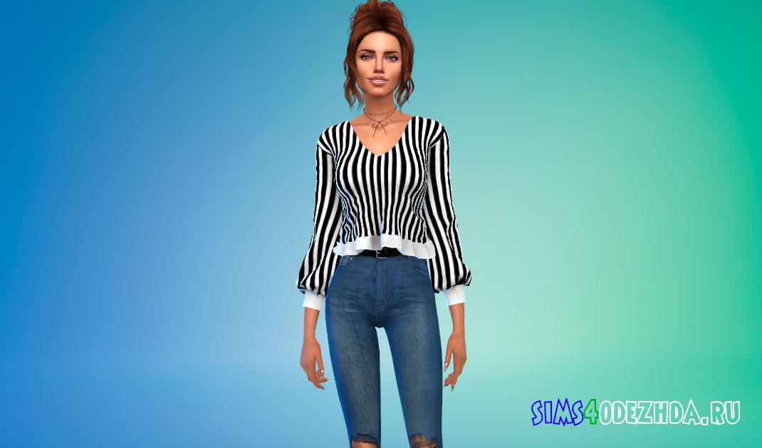 Укороченная блузка с баской для Симс 4 – фото 1