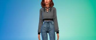 Укороченный свитер с завязками для Симс 4 – фото 1