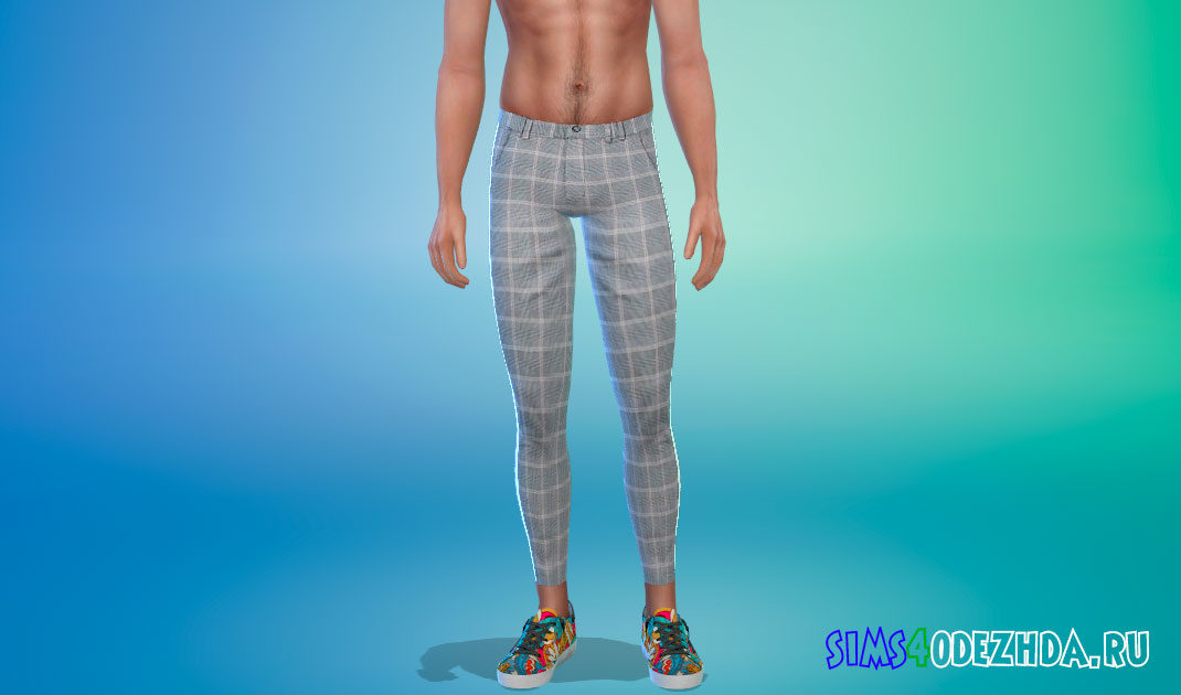 Зауженные брюки в клетку для Симс 4 – фото 1
