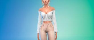 Блузка с открытыми плечами и вырезом для Симс 4 – фото 1