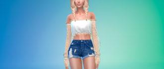 Блузка с прозрачными рукавами для Симс 4 – фото 1