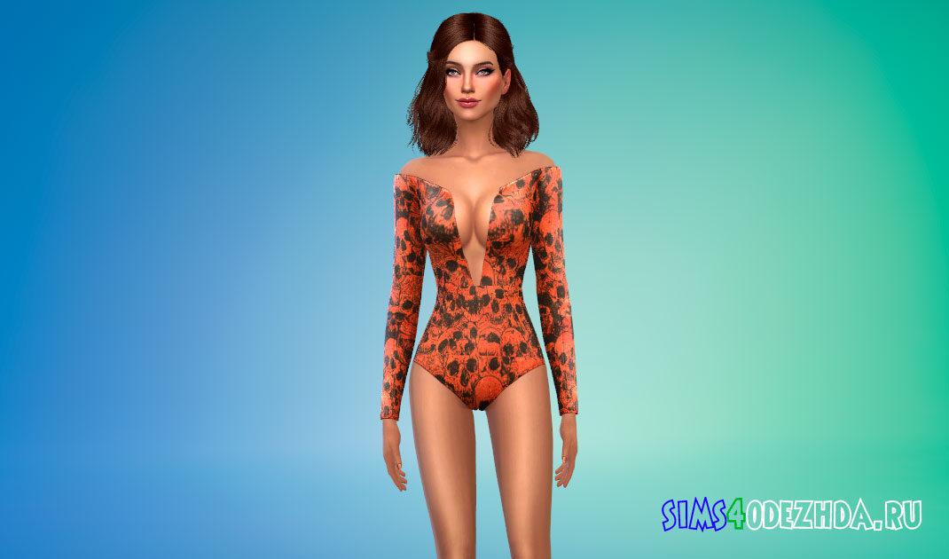 Боди с вырезом и открытыми плечами для Симс 4 – фото 1
